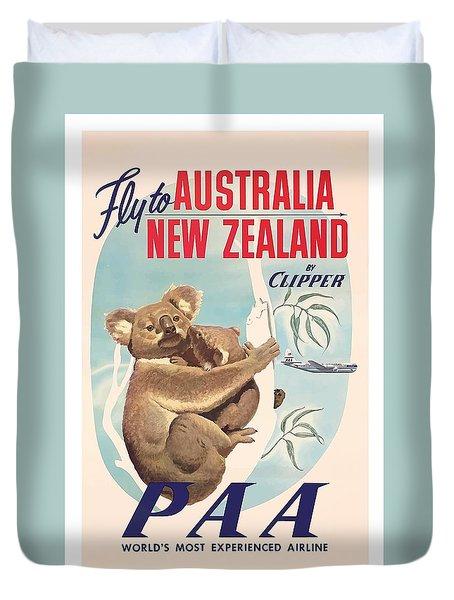Fly To Australia, New Zealand By Clipper Koala Bears Duvet Cover