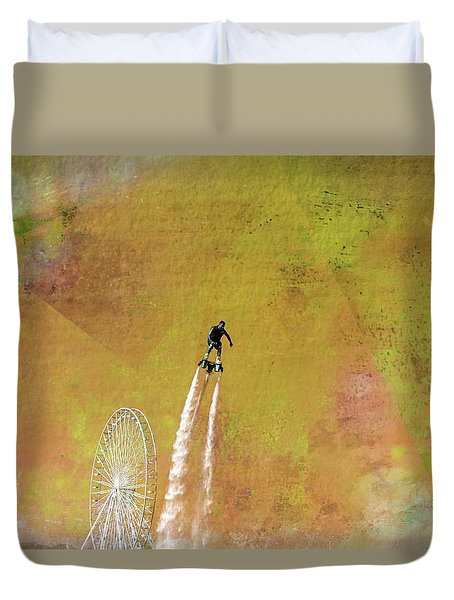 Flyboard, Sketchy And Painterly Duvet Cover