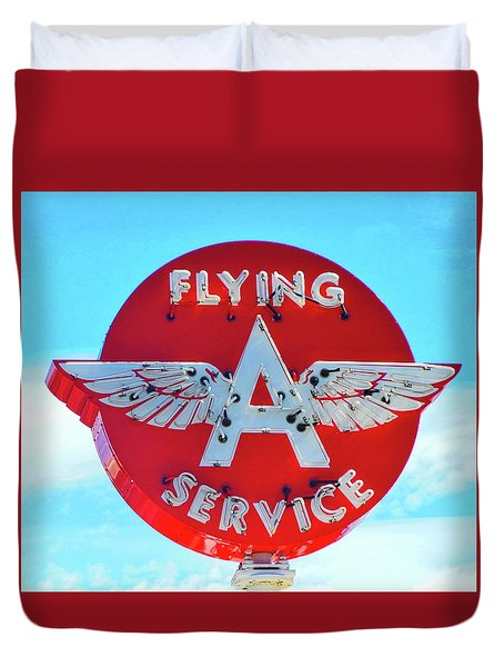 Duvet Cover featuring the photograph Flying A Service Sign by Joan Reese