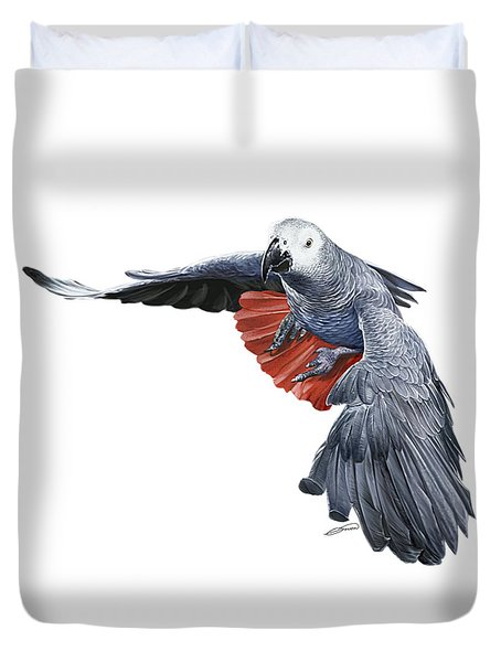 Flying African Grey Parrot Duvet Cover by Owen Bell