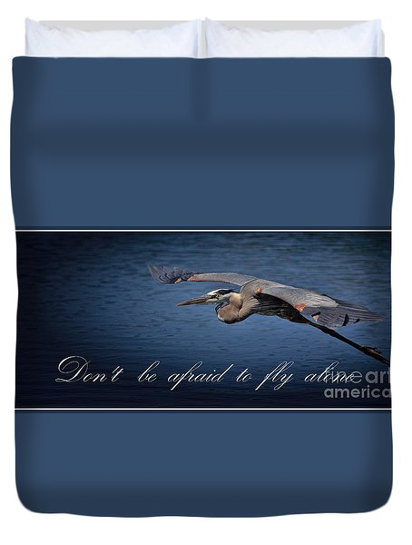 Flying Alone Duvet Cover by Pamela Blizzard
