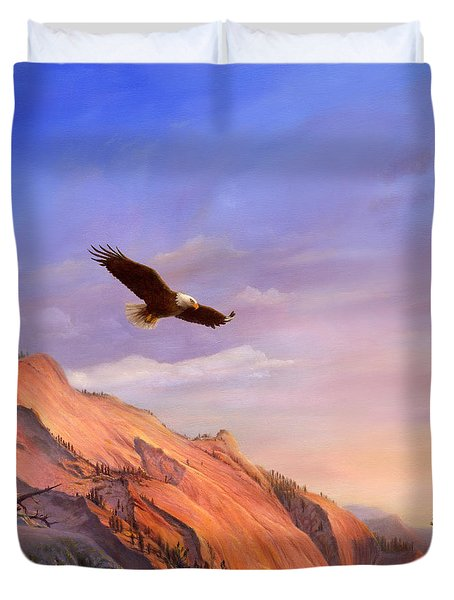 Flying American Bald Eagle Mountain Landscape Painting - American West - Western Decor - Square Form Duvet Cover