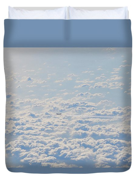 Duvet Cover featuring the photograph Flying Among The Clouds by Bill Cannon