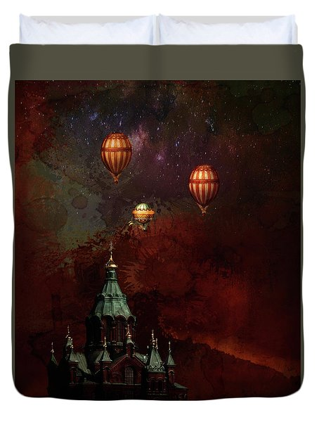 Duvet Cover featuring the digital art Flying Balloons Over Stockholm by Jeff Burgess