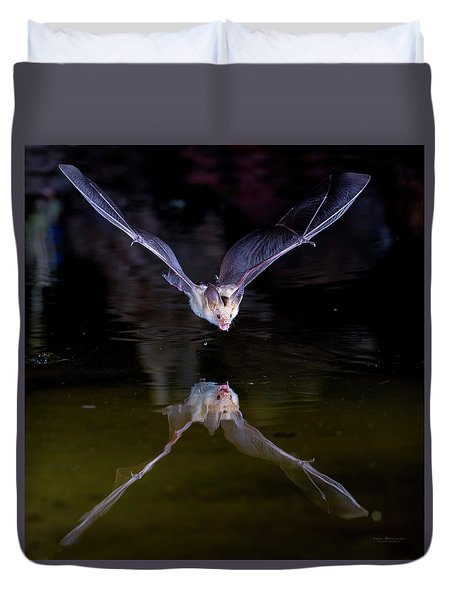 Flying Bat With Reflection Duvet Cover