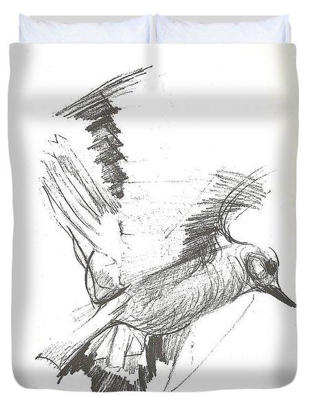 Flying Bird Sketch Duvet Cover