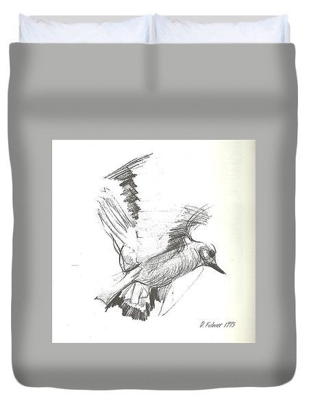 Flying Bird Sketch Duvet Cover