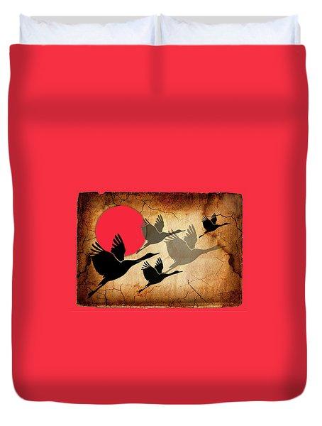 Flying Cranes Duvet Cover