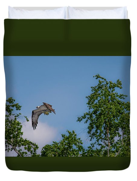 Duvet Cover featuring the photograph Flying Crappie by Onyonet  Photo Studios
