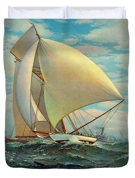 Duvet Cover featuring the photograph Flying Defender 1895 by Padre Art