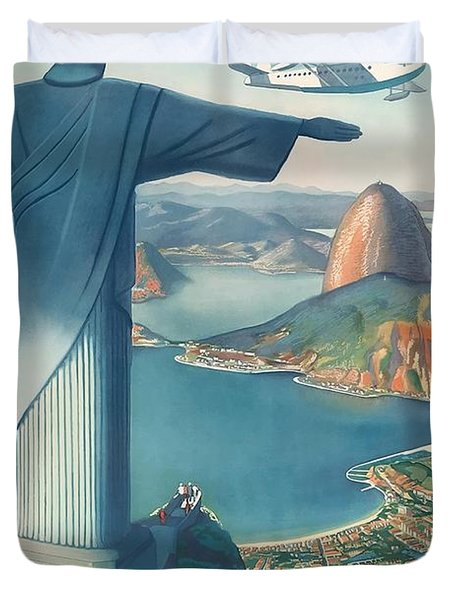 Flying Down To Rio Brazil Christ The Redeemer Statue Vintage Travel Poster Duvet Cover