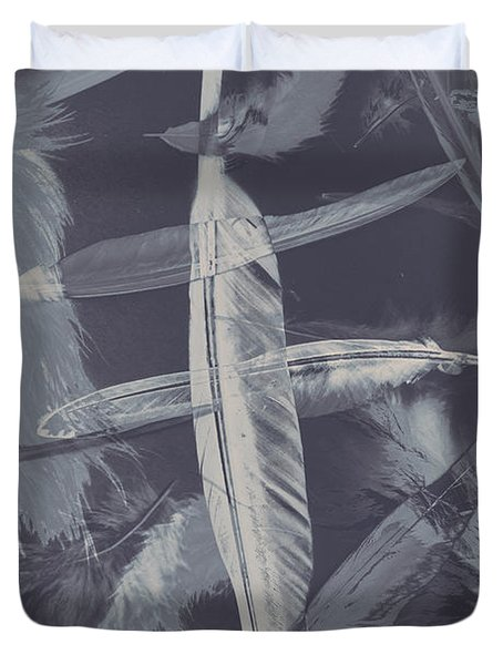 Flying Featherabstract Background Duvet Cover