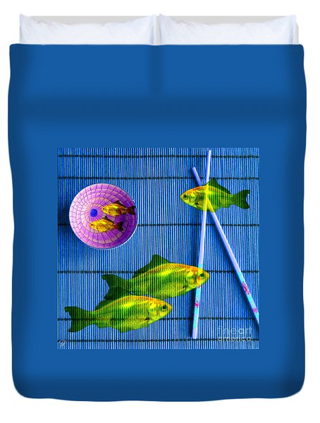 Flying Fish And The Pink Moon Duvet Cover