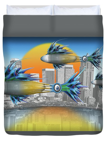 Flying Fisque  Duvet Cover