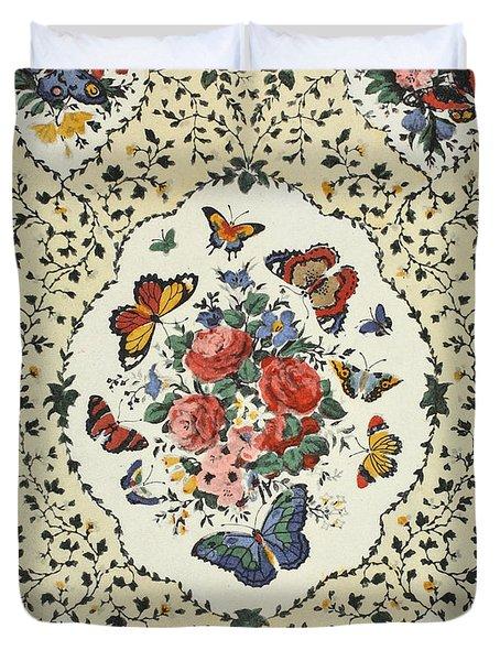 Flying Flowers Duvet Cover