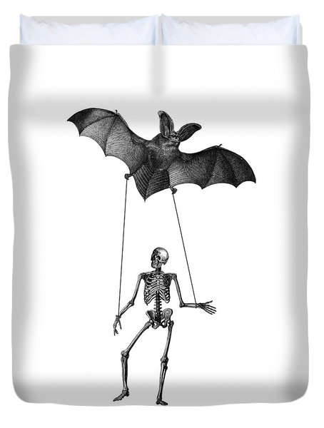 Flying Bat With Skeleton On A String Duvet Cover