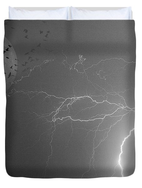 Flying From The Storm Bw Duvet Cover by James BO  Insogna