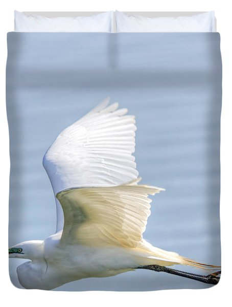 Flying Heron Duvet Cover