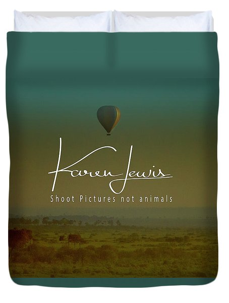 Duvet Cover featuring the photograph Flying High On The Masai Mara by Karen Lewis