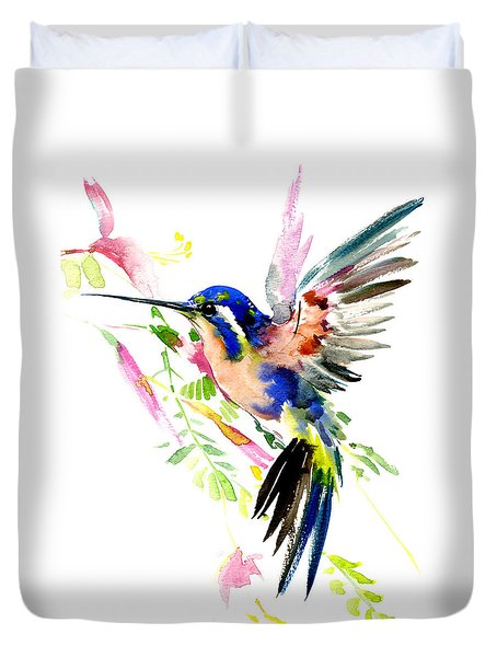 Flying Hummingbird Ltramarine Blue Peach Colors Duvet Cover