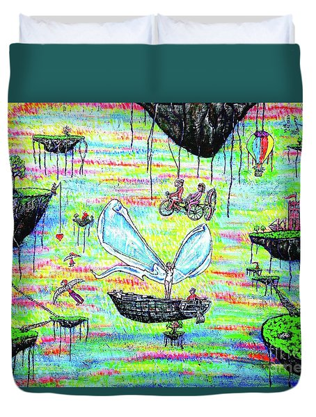 Duvet Cover featuring the painting Flying Islands by Viktor Lazarev