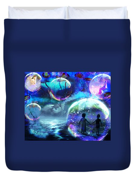 Flying Jellyfish And Magic Orbs Duvet Cover