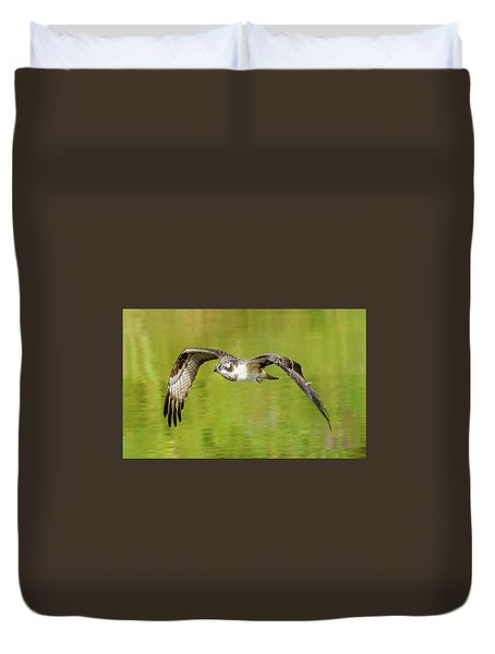 Flying Osprey Duvet Cover by Jerry Cahill