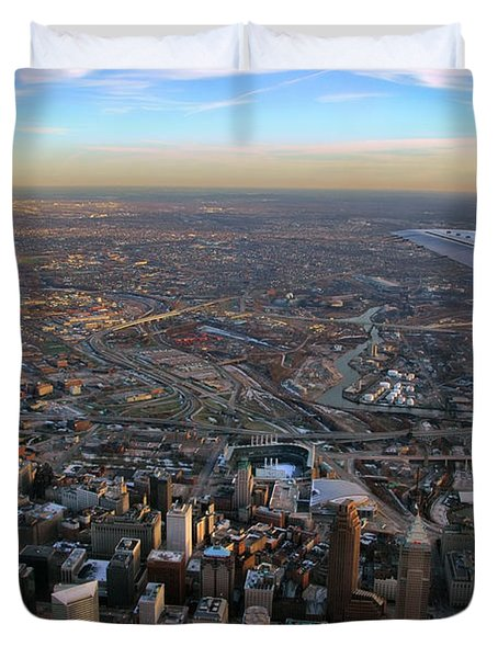 Flying Over Cincinnati Duvet Cover