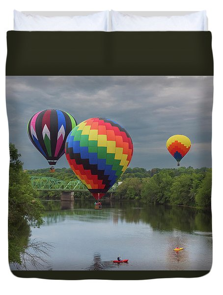 Flying Over The Androscoggin Duvet Cover