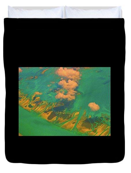 Flying Over The Keys, Florida Duvet Cover