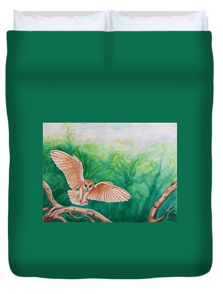 Duvet Cover featuring the painting Flying Owl by Steed Edwards