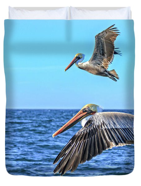 Duvet Cover featuring the photograph Flying Pair by Robert Bales