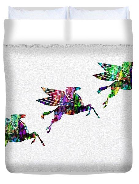 Flying Pegasus Rainbow Duvet Cover