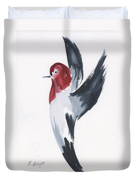 Duvet Cover featuring the painting Flying Red-headed Woodpecker by Frank Bright