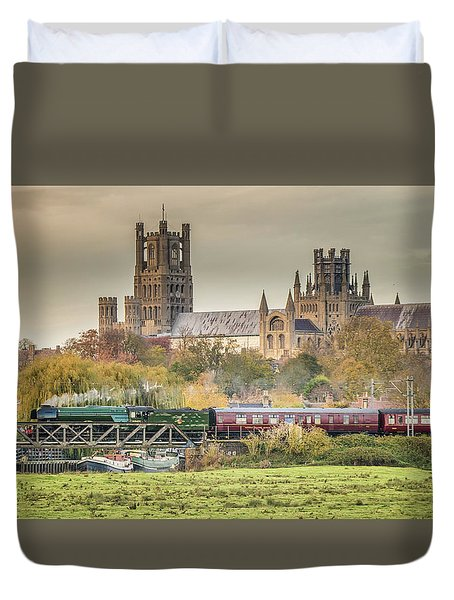 Duvet Cover featuring the photograph Flying Scotsman At Ely by James Billings