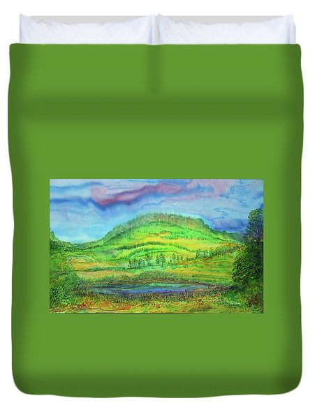 Duvet Cover featuring the painting Flying Solo by Susan D Moody