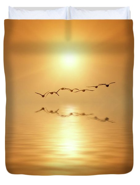 Flying South Duvet Cover by Wim Lanclus