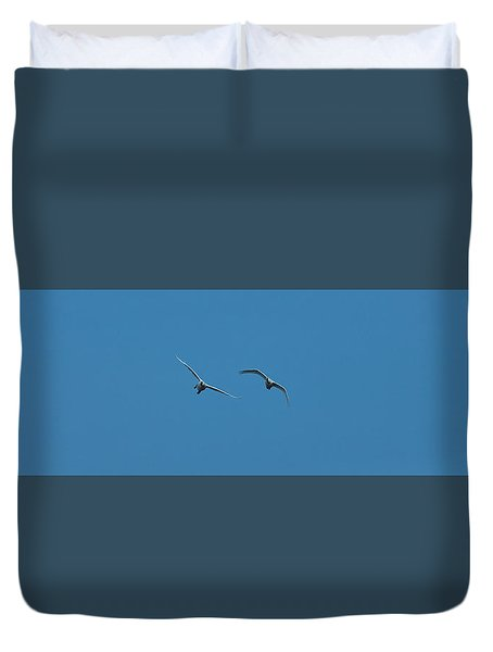 Duvet Cover featuring the photograph Flying Swans #g0 by Leif Sohlman