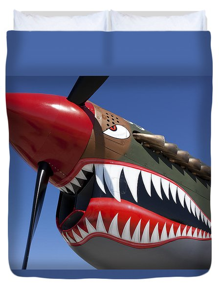 Flying Tiger Plane Duvet Cover by Garry Gay
