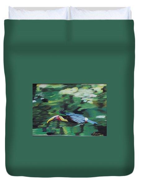 Flying Toucan In Costa Rica Duvet Cover