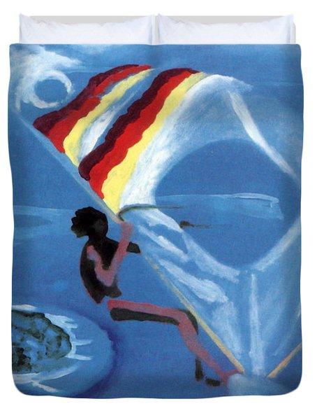 Flying Windsurfer Duvet Cover