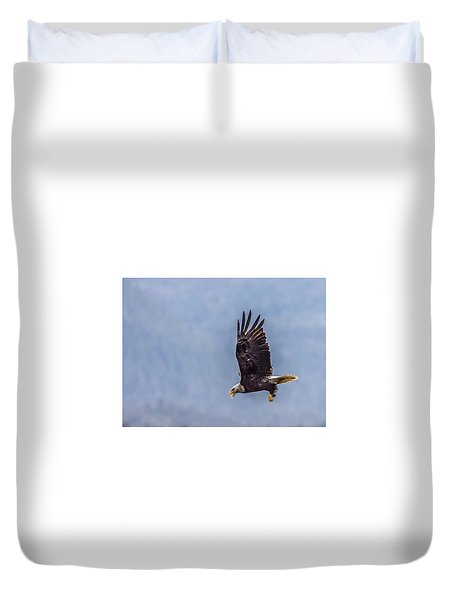 Flying With His Mouth Full.  Duvet Cover by Timothy Latta
