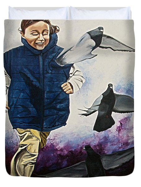 Flying With The Birds - Volar Con Las Aves Duvet Cover