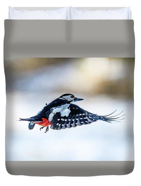 Flying Woodpecker Duvet Cover by Torbjorn Swenelius
