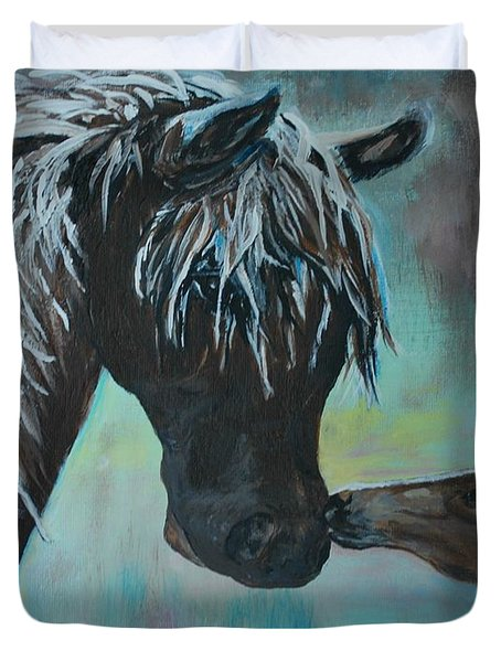 Duvet Cover featuring the painting Foal Kiss by Leslie Allen