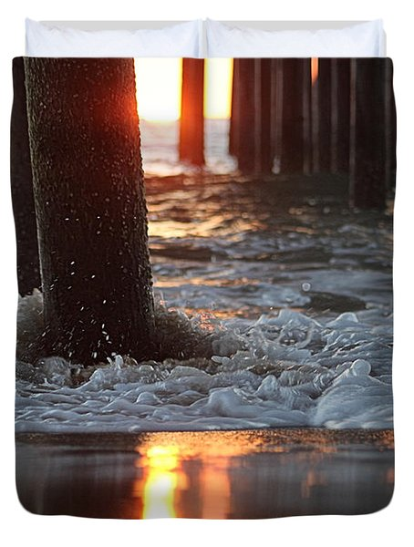 Foamy Waters Under The Pier Duvet Cover