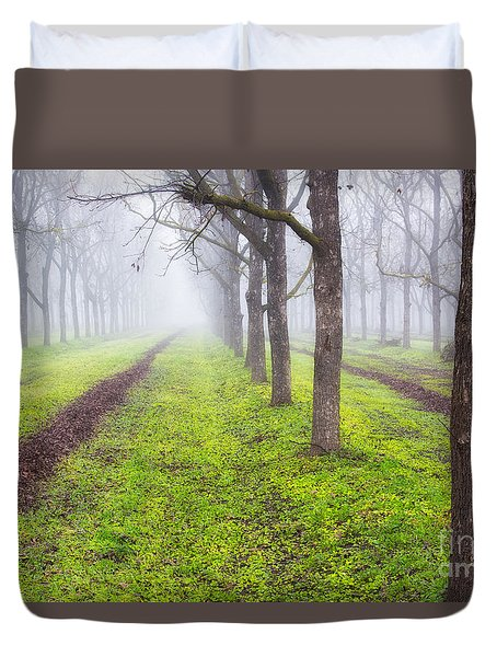 Fog And Orchard Duvet Cover
