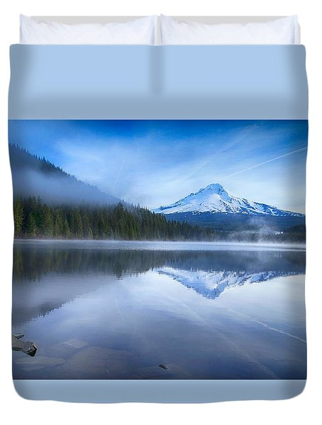 Fog And The Lake Duvet Cover