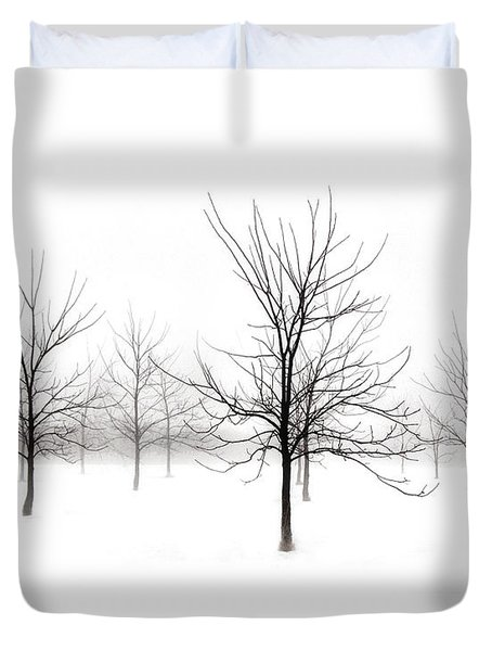 Fog And Winter Black Walnut Trees  Duvet Cover by Angie Rea
