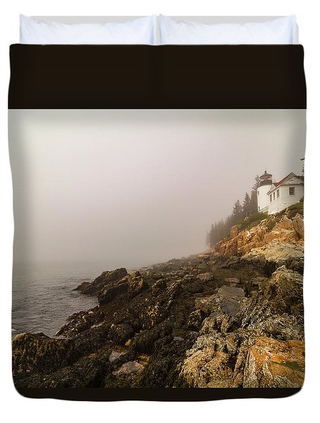 Duvet Cover featuring the photograph Fog At Bass Harbor Lighthouse by Jeff Folger